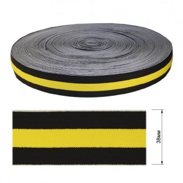 Резинка декоративная 3.8см,  цвет черный+желтый