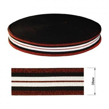 Резинка декоративная с люрексом 3.8см,  цвет белый+черный+красный