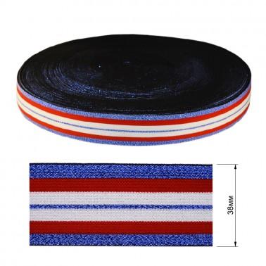 Резинка декоративная с люрексом 3.8см,  цвет белый+красный+голубой