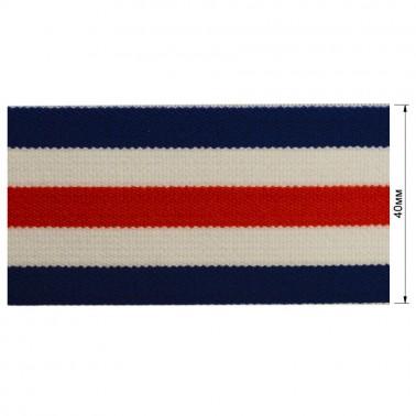 Резинка  декоративная 4см, цвет т.синий+белый+красный