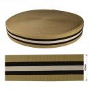 Резинка  декоративная 4см, цвет черный+белый+песочный
