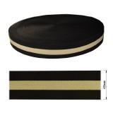 Резинка  декоративная 4см, цвет бежевый+черный