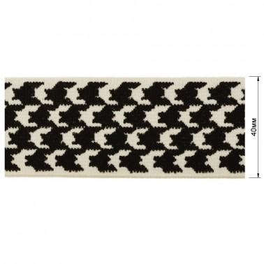 Резинка декоративная 4см,  цвет белый+черный