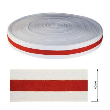 Резинка декоративная 4см,  цвет белый+красный