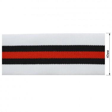 Резинка декоративная 4см,  цвет белый+черный+красный