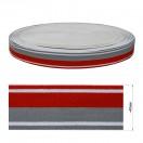 Резинка декоративная 4см, цвет белый+серый+красный