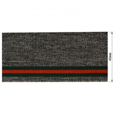 Резинка  декоративная 4см, цвет серый+3 полоски (зеленый+красный)