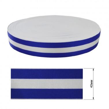 Резинка декоративная атласная 4см,  цвет cиний+белый