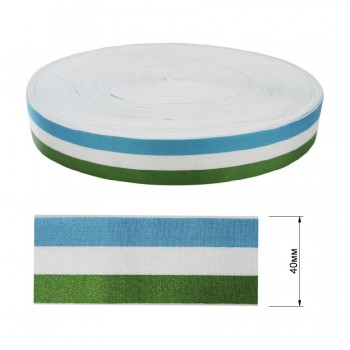Резинка декоративная атласная 4см,  цвет голубой+белый+зеленый