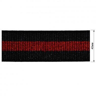 Резинка декоративная с люрексом 4см,  цвет черный+красный