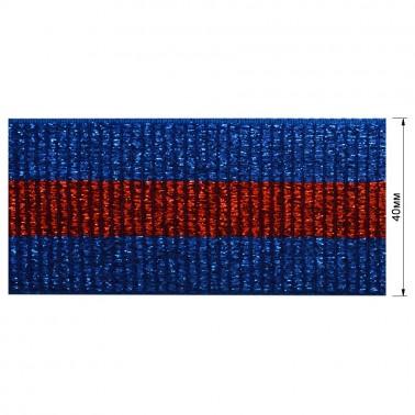 Резинка декоративная с люрексом 4см,  цвет cиний+красный