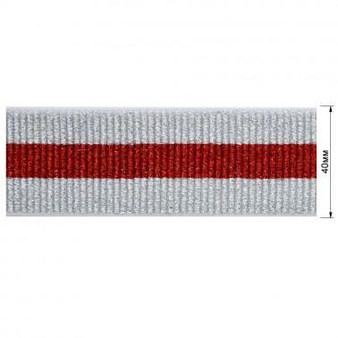 Резинка декоративная с люрексом 4см,  цвет белый+красный