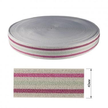 Резинка декоративная с люрексом 4см,  цвет белый+розовый