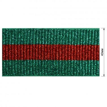 Резинка декоративная с люрексом 4см,  цвет зеленый+красный