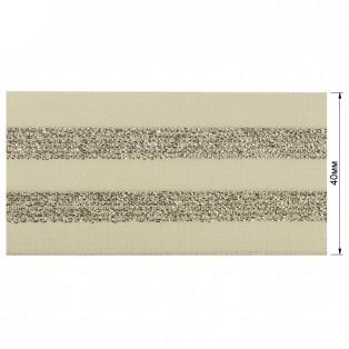 Резинка декоративная с люрексом 4см,  цвет белый+серебро