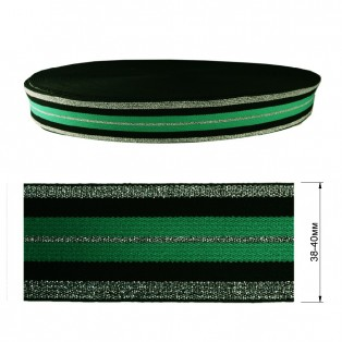 Резинка декоративная с люрексом 4см,  цвет зеленый+черный+серебро