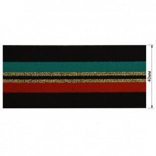 Резинка декоративная с люрексом 4см,  цвет черный+красный+зеленый+золото