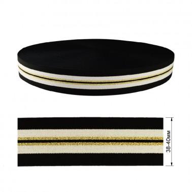 Резинка декоративная с люрексом 4см, цвет черный+белый+золото