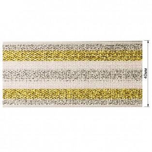 Резинка декоративная с люрексом 4см,  цвет белый+золото+серебро