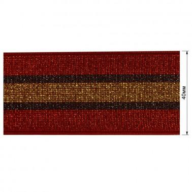 Резинка декоративная с люрексом 4см,  цвет красный+золото