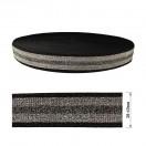 Резинка декоративная с люрексом 4см, цвет черный+серебро