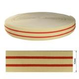 Резинка  декоративная 4.2см, цвет бежевый+красный