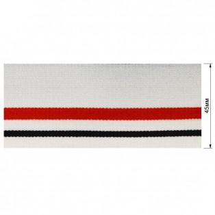 Резинка  декоративная 4.5см, цвет белый+красный+черный
