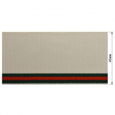 Резинка  декоративная 4.5см, цвет белый+3 полоски (зеленый+красный)