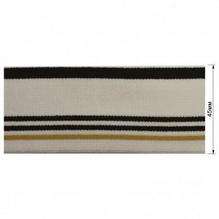 Резинка  декоративная 4,5см, цвет белый+черный+песочный