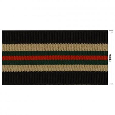 Резинка  декоративная 5см, цвет черный+песочный+зеленый+красный