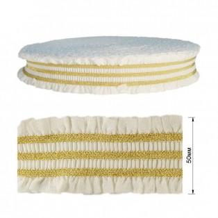 Резинка декоративная с люрексом 5см, цвет белый+золото