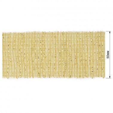 Резинка декоративная с люрексом 5см,  цвет молочный+золото
