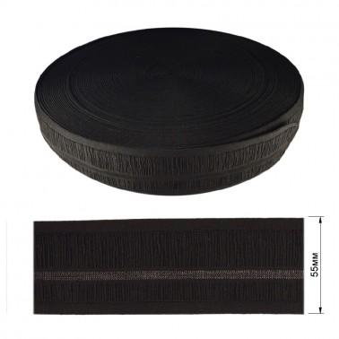 Резинка  декоративная 5.5см, цвет черный