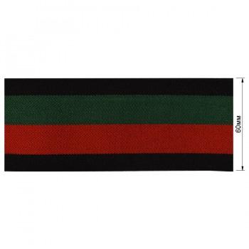 Резинка  декоративная 6см, цвет черный+красный+зеленый+черный