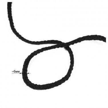 Шнур круглый 6мм, хлопок,  цвет черный