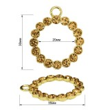 Пуллер, кольцо со стразами, тип 5, цвет золото+золото