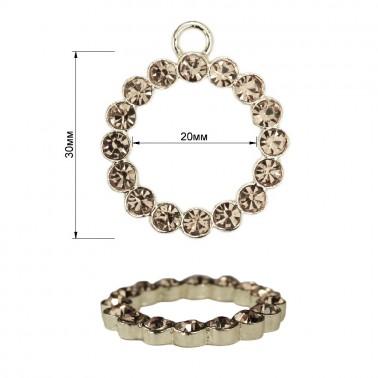 Пуллер, кольцо со стразами, тип 5, цвет никель+белый