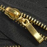 Молния металлическая неразъемная 3Т, 16см, слайдер палочка, зубцы золото, цвет 322-чёрный