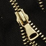 Молния неразъемная металлическая 3Т, шлифованная 16см, слайдер G40, зубцы золото, цвет 322-черный