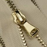 Молния металлическая неразъёмная 3Т, шлифованная 18см, слайдер G40, зубцы золото, цвет 0020-молоко
