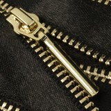 Молния металлическая неразъемная 3Т, 18см, слайдер палочка-5071, зубцы золото, шлифованная, цвет черный, тесьма шелк