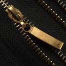 Молния металлическая неразъёмная 3Т, 20см, слайдер палочка, зубцы светлое золото, цвет 322-чёрный