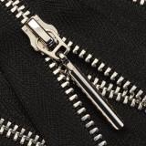 Молния металл неразъёмная 3Т, шлифованная 50см, слайдер 5071, зубцы никель, цвет 322-чёрный