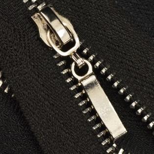 Молния металлическая неразъёмная 3Т, 55см, слайдер палочка 13149, зубцы никель, цвет 322-чёрный