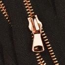 Молния металлическая разъёмная 3Т, шлифованная 55см, слайдер G40, зубцы розовое золото, цвет 322-чёрный