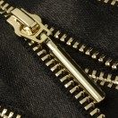 Молния металлическая разъемная 3Т, 55см, слайдер палочка-5071, зубцы золото, шлифованная, цвет черный, тесьма шелк
