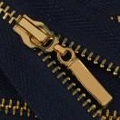 Молния металлическая разъёмная 3Т, 55см, слайдер-13149- палочка, зубцы золото, цвет 330-т.синий