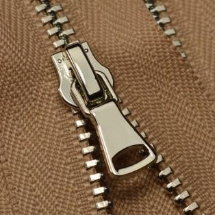 Молния металлическая разъёмная 3Т, шлифованная 55см, слайдер G40, зубцы никель, цвет D098-бежевый