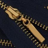Молния металлическая разъёмная 3Т, 80см, слайдер-13149- палочка, зубцы золото, 2 слайдера, цвет 330-т.синий