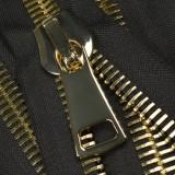 Молния металлическая неразъемная 38Т,шлифованная 18см, слайдер G41, зубцы золото, цвет 322-черный